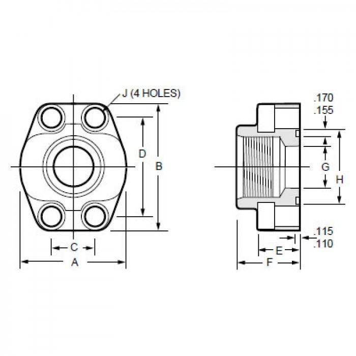 """Details about  /Hydrocraft 4-Bolt Solid Flange HCFT-40-40 HCFT4040 2-1//2/"""" NPT New"""